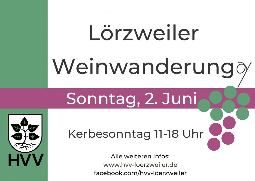 Werbung für die Weinwanderung am 2. Juni 2019