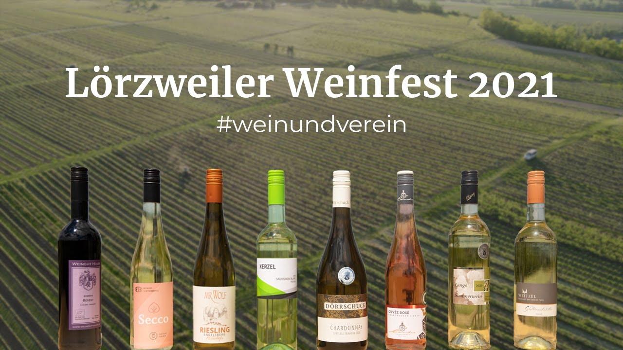 Weinflaschen vor Weinbergen Inschrift Lörzweiler Weinfest 2021 #weinundverein
